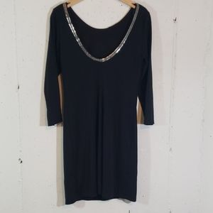 H&M 10 blk dress w/ silver link collar/low back